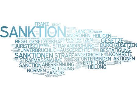 enforce: Word cloud - sanctions Stock Photo