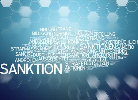 affirmation: Word cloud - sanctions Stock Photo