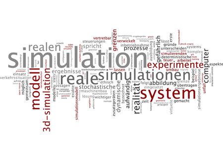 computer model: Word cloud of simulation in German language