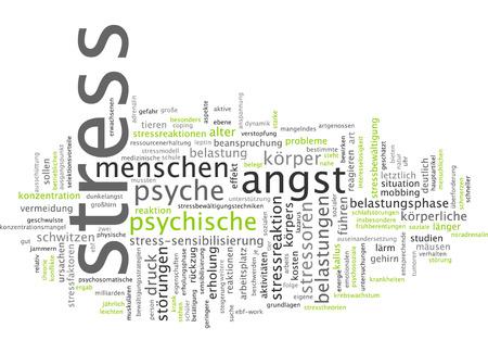 psyche: Nube de palabras - el estr�s Foto de archivo