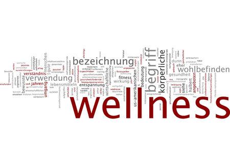 Word cloud of wellness in German language 版權商用圖片