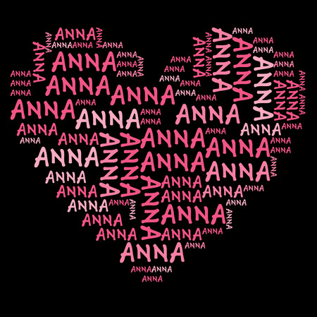 anna: Anna word cloud in pink letters against black background