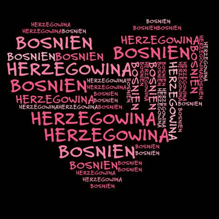 herzegovina: Bosnia and Herzegovina word cloud in pink letters against black background Stock Photo