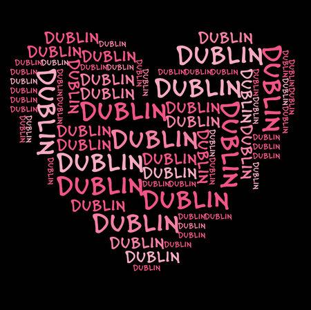 dublin: Dublin word cloud in pink letters against black background