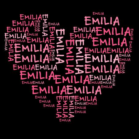 emilia: Emilia word cloud in pink letters against black background