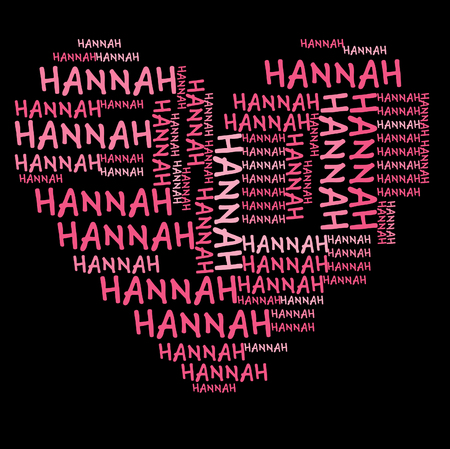 names: Hanna word cloud in pink letters against black background Stock Photo