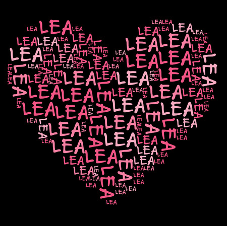 lea: Lea word cloud in pink letters against black background