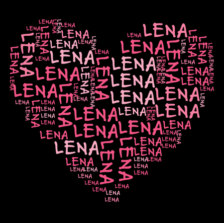 names: Lena word cloud in pink letters against black background