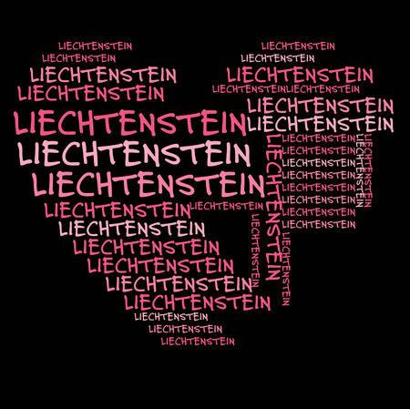 liechtenstein: Liechtenstein word cloud in pink letters against black background