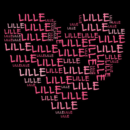 lille: Lille word cloud in pink letters against black background