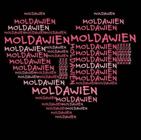 moldavia: Moldavia word cloud in pink letters against black background