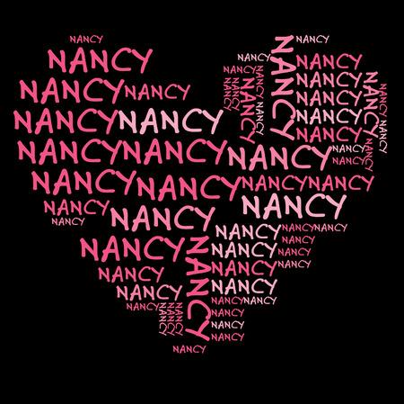 Nancy word cloud in pink letters against black background