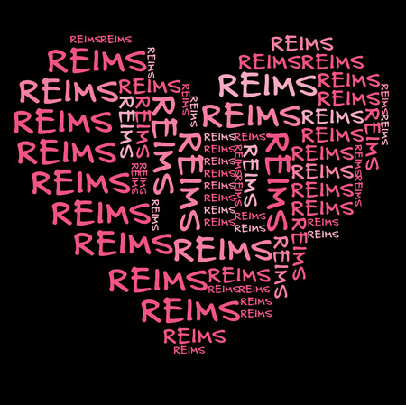Reims word cloud in pink letters against black background
