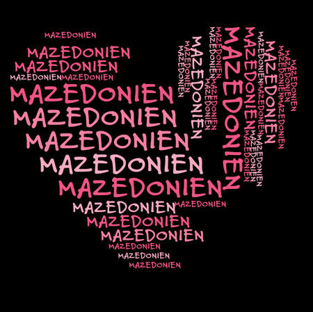 pink and black: Macedonia word cloud in pink letters against black background