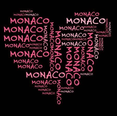 monaco: Monaco word cloud in pink letters against black background
