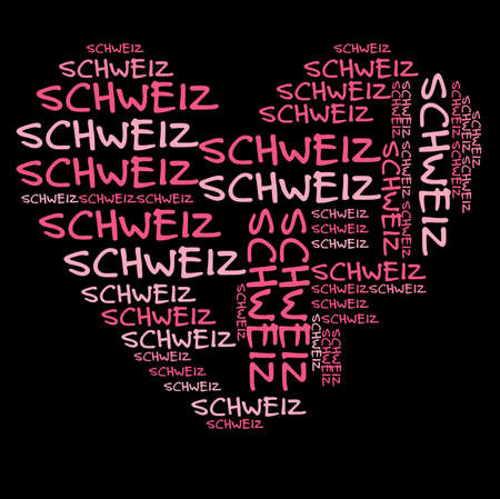 schweiz: Switzerland word cloud in pink letters against black background