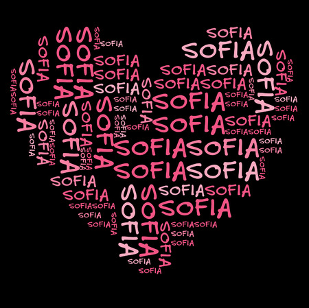 sofia: Sofia word cloud in pink letters against black background Stock Photo
