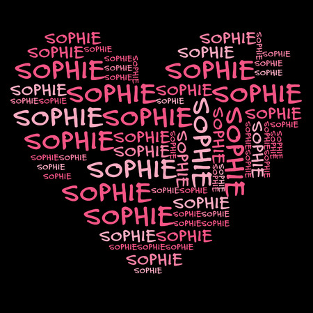 names: Sophie word cloud in pink letters against black background