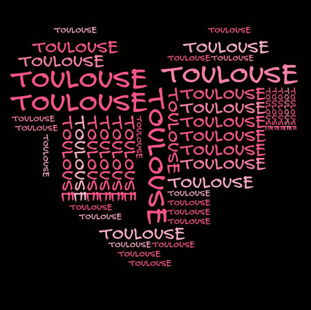 toulouse: Toulouse word cloud in pink letters against black background