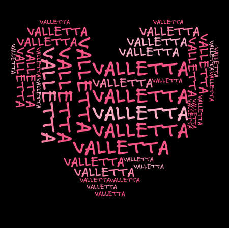 Valletta word cloud in pink letters against black background Stock Photo