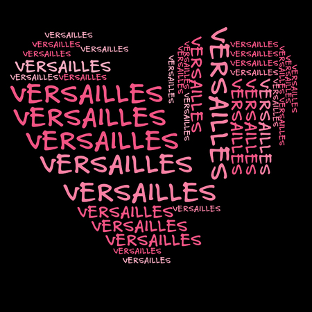 Versailles word cloud in pink letters against black background Stock Photo
