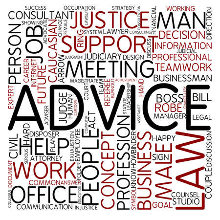 advice: Word cloud - advice Stock Photo