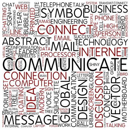 comunicarse: Nube de palabras - comunicar Foto de archivo