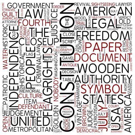 constituci�n pol�tica: Nube de palabras - Constituci�n Foto de archivo