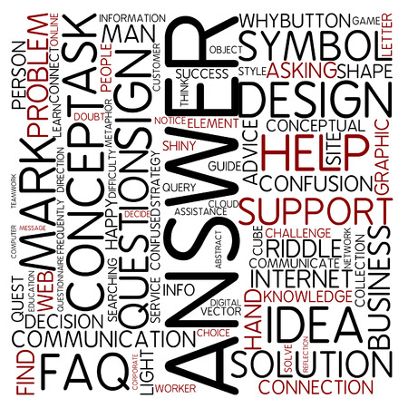 customer focus: Word cloud - answer Stock Photo