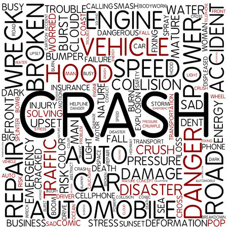 auto accident: Word cloud - crash Stock Photo