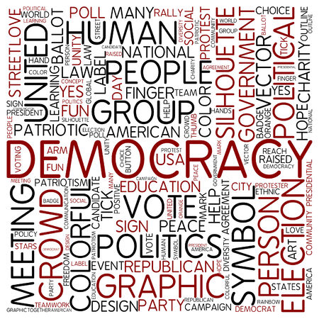 democracia: Nube de palabras - la democracia Foto de archivo