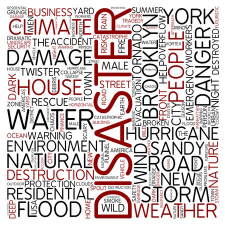 hurricane sandy: Word cloud - disaster Stock Photo