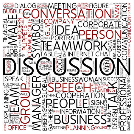 discussion: Word cloud - discussion Stock Photo