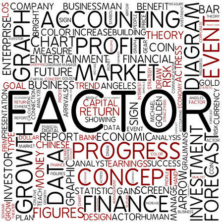 factors: Word cloud - factor Stock Photo