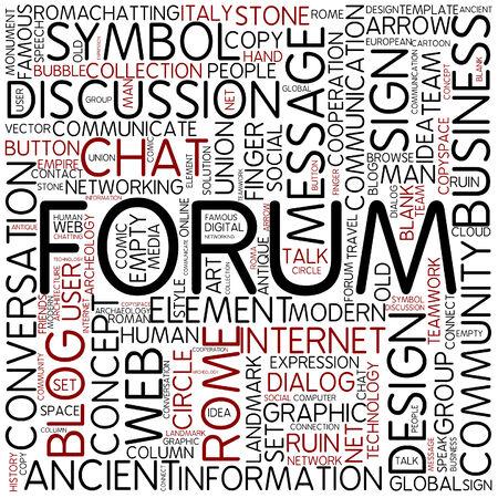 social history: Word cloud - forum Stock Photo