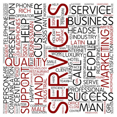 customer service phone: Word cloud - services Stock Photo