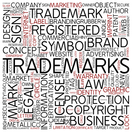 Word cloud - trademarks Stock Photo