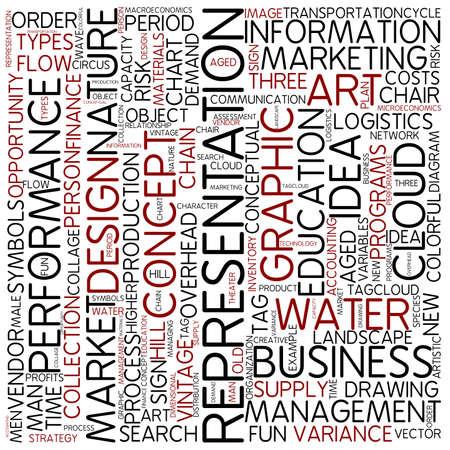 representations: Word cloud - representation Stock Photo