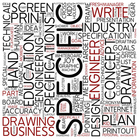 specific: Word cloud - specific Stock Photo