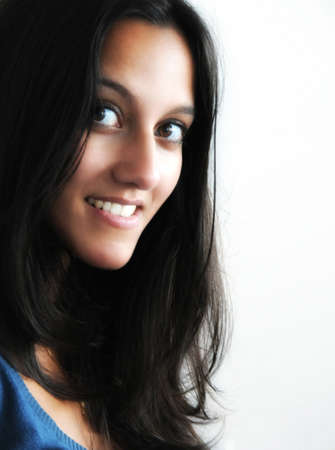 tilted view: Woman smiling at the camera