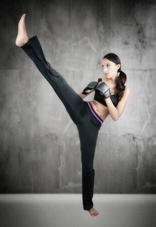 kick: Woman excercising