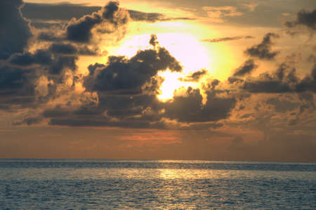 waterscape: Dramatic sky during sunset on Maldives