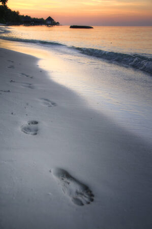 Footprints on the beach in sunset, Maldive Islands photo