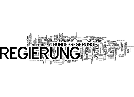 Word cloud of government in German language Stock Photo