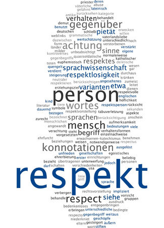 linguistics: Word cloud of respect in German language Stock Photo