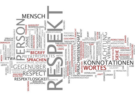 Word cloud of respect in German language Stock Photo