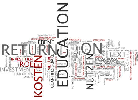 lecturing: Word cloud of return on education in German language Stock Photo