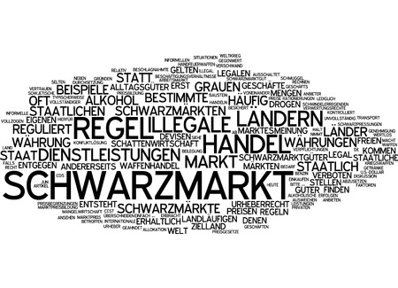 certain: Word cloud of black market in German language Stock Photo