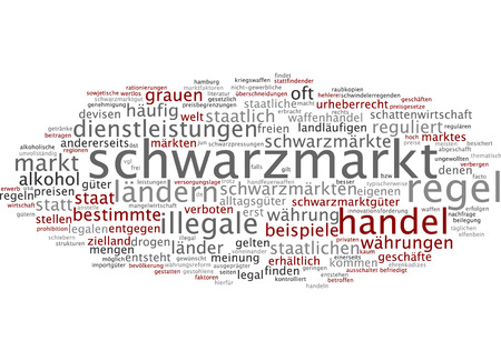 illegal trading: Word cloud of black market in German language Stock Photo