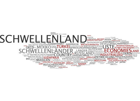categorized: Word cloud of emerging country in German language Stock Photo